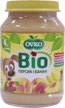 Упаковка фруктового органічного пюре OVKO Банан і персик з 4 місяців 190 г x 6 шт. (8586015172748)