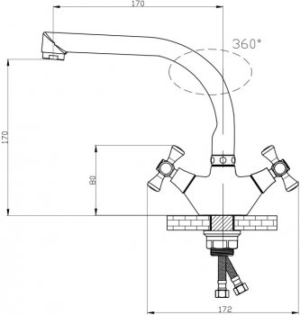 Змішувач кухонний GF (CRM)/S-22-276F