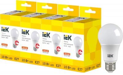 Светодиодная лампа IEK ALFA A60 10W 3000К E27 230V 4шт (LLA-A60-10-230-30-E27X4)