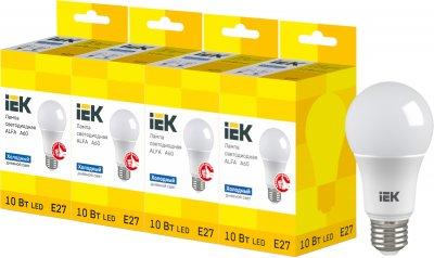 Светодиодная лампа IEK ALFA A60 10W 6500К E27 230V 4шт (LLA-A60-10-230-65-E27X4)