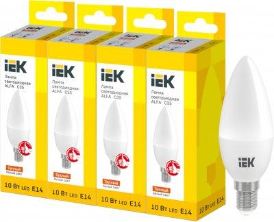 Светодиодная лампа IEK ALFA C35 10W 3000К E14 230V 4шт (LLA-C35-10-230-30-E14X4)