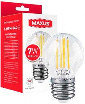 Світлодіодна лампа Maxus G45 FM 7W 4100K 220V E27 Clear (1-MFM-744)