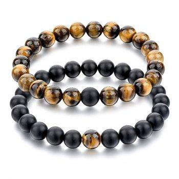 Браслеты для двоих Особенные DiaDemaGrand Черный с коричневым каменм (011827-9-19)