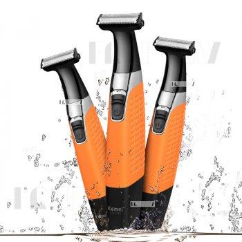 Триммер для стрижки волосся і бороди професійний акумуляторний бездротовий Kemei Orange (KM-1910)