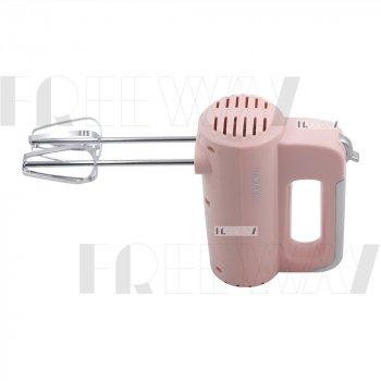 Миксер с чашей кухонный для дома для взбивания электрический стационарный ручной 200W Haeger (HG-6643) Pink