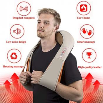 16 роликовый 4D массажёр для всего тела с подогревом Supretto 6 кнопок