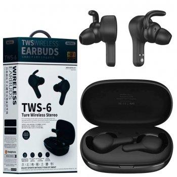 Bluetooth наушники с микрофоном Remax TWS-6 черные
