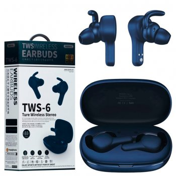 Bluetooth наушники с микрофоном Remax TWS-6 синие