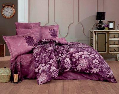 Комплект постільної білизни Hobby Exclusive Sateen Adele бордовий 200х220 (8698499154476)