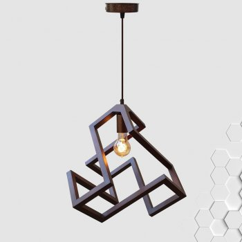 Світильник підвісний LABYRINTH E27 на 1-лампу, темне дерево