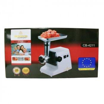 Мясорубка электрическая Crownberg 2500 Вт с насадками для колбасок и кеббе лучшая домашняя электромясорубка белая CB4211W