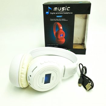 Навушники безпровідні Bluetooth з MP3 плеєром радіо і LED дисплей знімний акумулятор UKC N65BT білий
