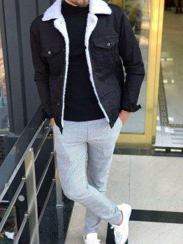 Джинсова куртка з мехом uwest чорна з білим хутром