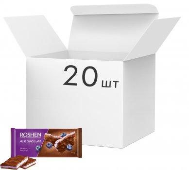 Упаковка шоколада Roshen Молочный с черничной нугой 90 г х 20 шт (4823077617515)