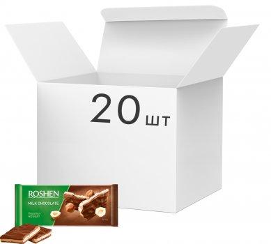 Упаковка шоколада Roshen Молочный с ореховой нугой 90 г х 20 шт (4823077617492)