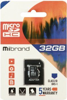 Mibrand microSDHC 32GB Class 10 UHS-1 + SD адаптер (MICDHU1/32GB-A)