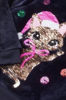"""Светр для дівчинки H&M """"Котик з новорічними кульками"""" синій"""