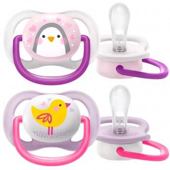 Пустышка ортодонтическая Philips Avent Ultra Air Animal для девочек 0-6 месяцев (8710103949374)