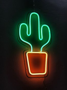 Неоновий світильник Neon Lightning «Кактус у горщику»