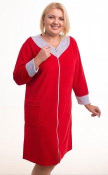 Халат Bonita женский велюровый красный с серым (Н002)