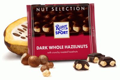 Шоколад Ritter Sport Шоколад Ritter Sport Nut Selection темний з цільними лісовими горіхами 100 г * 5шт