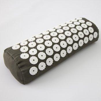 Масажний килимок і валик 2в1 (аплікатор Кузнєцова) масажер для ніг/спини/шиї/тіла FitUp (F-00001) Хакі білий