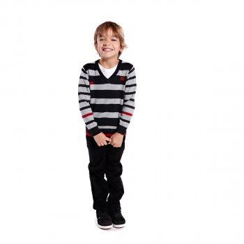 Вязаный свитер NANO F1401-09 черный с серым (F1401-09)