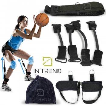 Тренажер еспандер Vertical High Jump Trainer з тренувальної сумкою для жінок і чоловіків - з регульованим ременем і м'яким поясом манжетами для рук і ніг - універсальні, Чорний