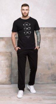 Мужские трикотажные спортивные штаны прямого кроя ISSA PLUS GN-407 Черный