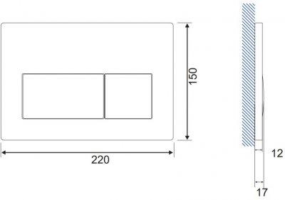 Панель смыва CERSANIT Presto K97-348 хром матовый