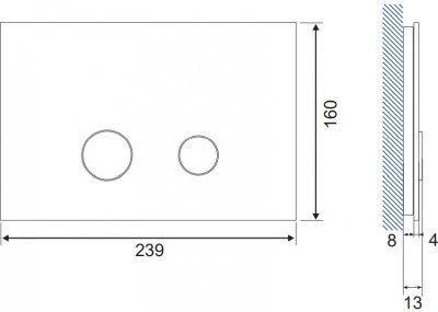 Панель смыва CERSANIT Stero K97-368 белое стекло