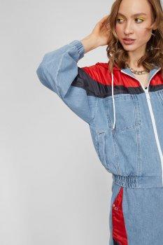 Жіноча блакитна джинсова куртка HOODIE ELASTICTD CROP JK FMXLBR Tommy Hilfiger DW0DW10073