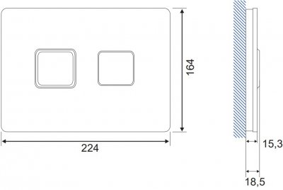 Панель смыва CERSANIT Accento Square S97-058 черное стекло
