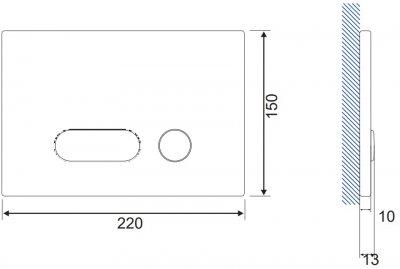 Панель смыва CERSANIT Intera S97-023 черное стекло