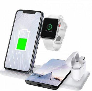 Бездротова док станція MICRONIK Q20 ABS 4в1 Швидка зарядка 4-х гаджетів Samsung/iPhone/Air Pods/Apple Watch White