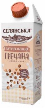 Упаковка каши молочной жидкой Селянська Гречневая ультрапастеризованная 2.5% жира 750 г х 18 шт (4820003489567)