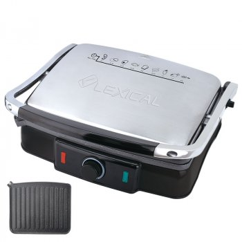 Гриль электрический для дома для стейков прижимной Lexical 2200W (LSM-2507)