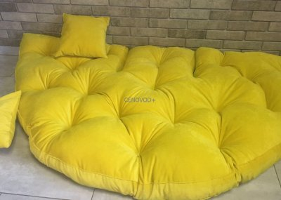 Крісло трансформер матрац з подушкою безкаркасне розкладне лежак Жовтий (1778767663)