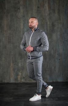 Чоловічий спортивний костюм двійка картатий BD4556 сірий