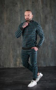 Чоловічий спортивний костюм двійка картатий BD4556 зелений