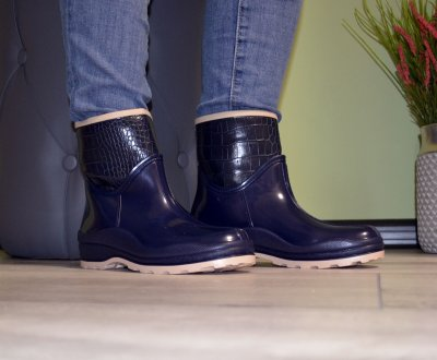 Полусапожки ботинки W-shoes 116b резиновые утепленные непромокаемые синие b-239
