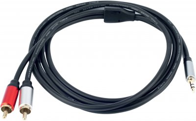 Кабель ProfCable 3.5 мм Stereo Plug to 2хRCA Plugs Cable 1.5 м Black (1-150)