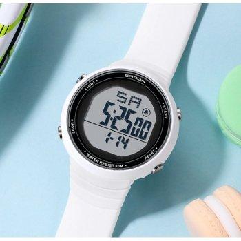 Часы Sanda Ice с секундомером и будильником + подсветка Белый
