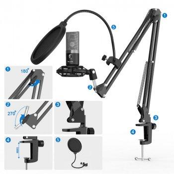Мікрофон конденсаторний Fifine T670 зі стійкою і триногою + павук, поп-фільтр і вітрозахист Чорний