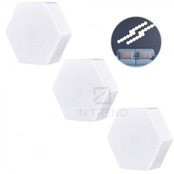 Настенная лампа модульная светодиодная разноцветная с пультом управления – шестигранный светильник на стену на липучках цветной, 3 шт.