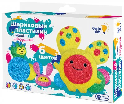 Набор для детской лепки Genio Kids Шариковый пластилин 6 цветов (TA1802) (4814723005688)