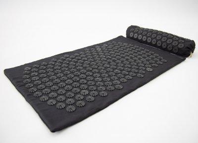 Массажный коврик и валик 2в1 (аппликатор Кузнецова) массажер для ног/спины/шеи/тела FitUp (F-00002) Черно-черный