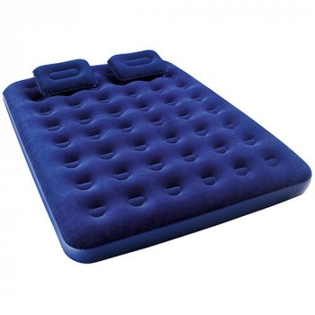 Надувной матрас велюровый двухместный с 2-мя подушками и ручным насосом Bestway 67374