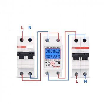 Лічильник Sinotimer DDS6619-526L вимірювач споживання електроенергії на DIN-рейці з підсвічуванням