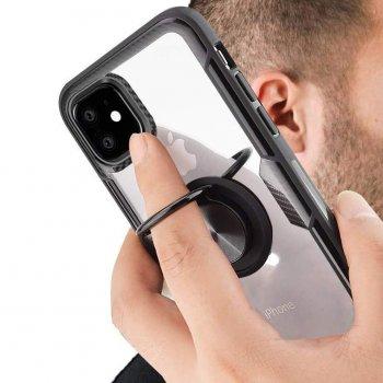 """Противоударный Защитный Термополиуретановый Чехол - Накладка с Магнитным Кольцом - Держателем Deen CrystalRing for Magnet (opp) для Apple iPhone 11 (6.1"""") Поликарбонатный / с Функцией Подставки / Бесцветный / Черный"""